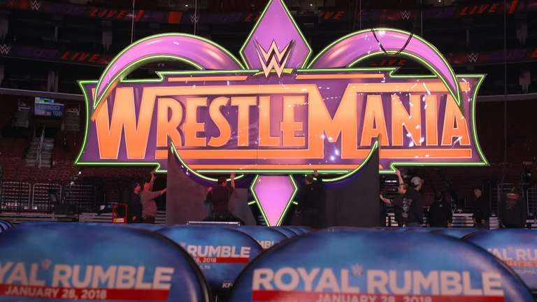 wwe wrestlemania 34 logo gets raised inside wells fargo