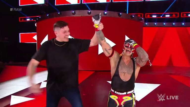 rey mysterio defeats samoa joe on wwe monday night raw